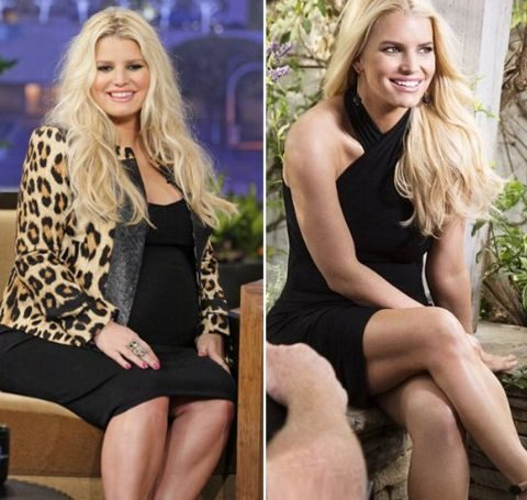 Jessica Simpson before and after weight loss in 2012.
