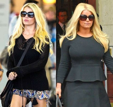 Jessica Simpson before (right) and after (left) weight loss in 2014.
