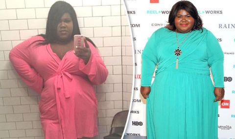 Gabourey Sidibe' weight loss journey in a two-picture collage.